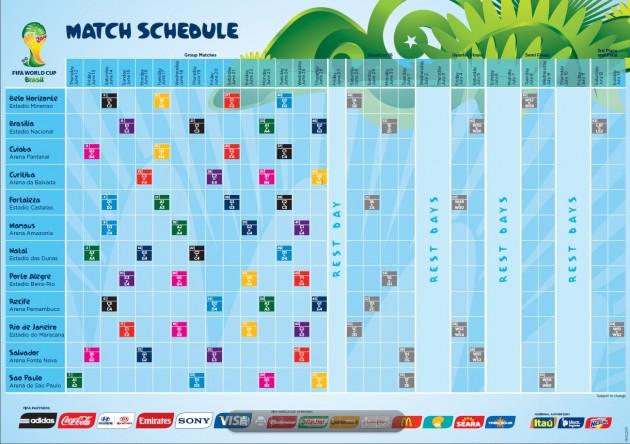 Calendario Partidos de la Copa del Mundo Brasil 2014. Fuente:es.FIFA.com