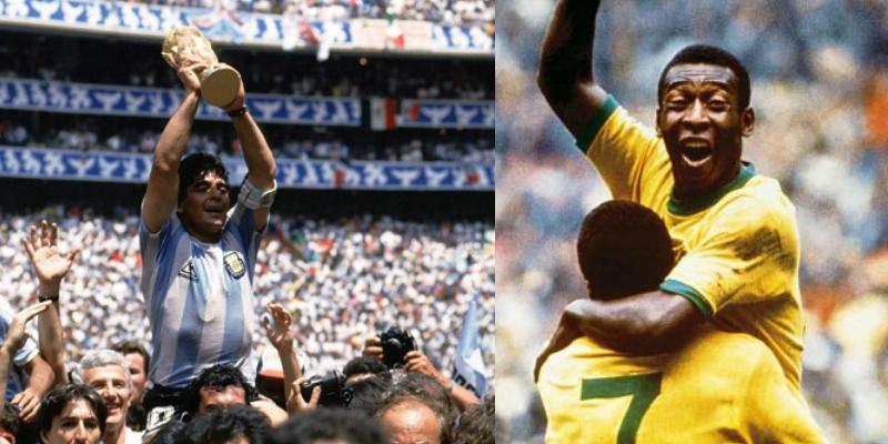 Maradona y Pelé celebran sus triunfos en el estadio Azteca en los Mundiales de 1970 y 1986
