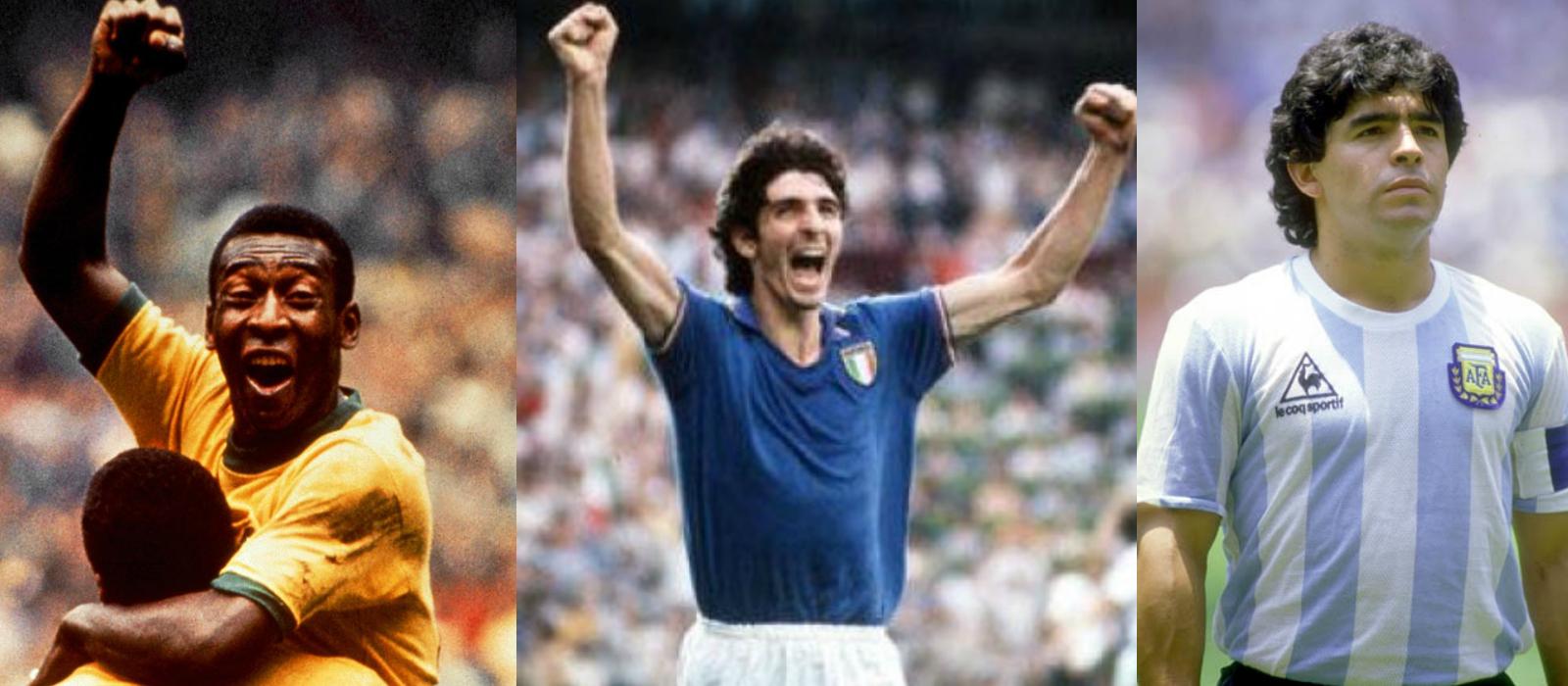 Pelé, Paolo Rossi y Diego Maradona: elegidos en dos ediciones entre los tres mejores