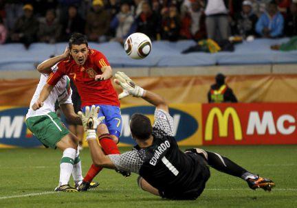 Villa anota el único gol en los octavos del Mundial de Sudáfrica 2010